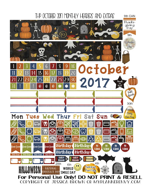 Free Printable October 2017 Monthly Headers and Extras for the Classic Happy Planner from myplannerenvy.com