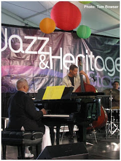 Chuck Webb - bass and Willie Pickens - piano of The Edwin Daugherty Sextet play the Von Freeman Pavilion at the Chicago Jazz Festival - Photo by Tom Bowser