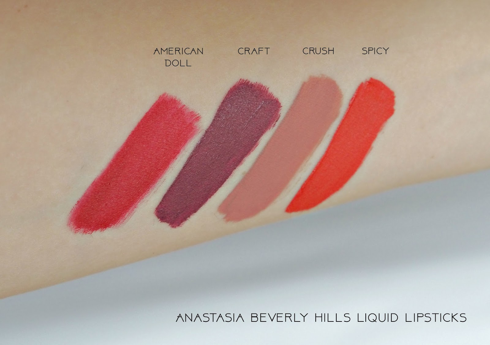 Anastasia Beverly Hills Liquid Listicks in Craft, American Doll, Crush and Spicy, swatches, ABH