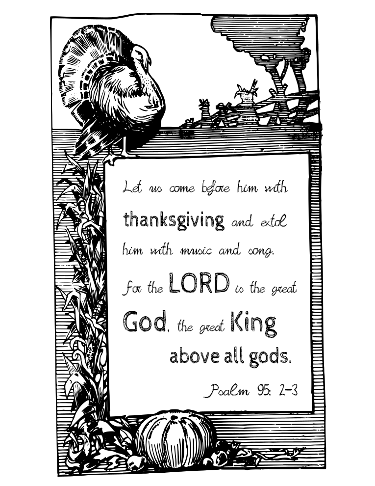 thanksgiving free printable bible verse from Psalm 95 by the funky felter