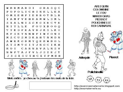 """Résultat de recherche d'images pour """"mots meles carnaval"""""""