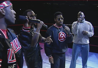 WWE / WWF Wrestlemania 15: Boys II Men performing at the event