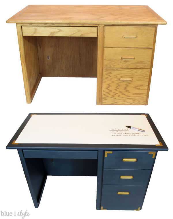 diy with style Campaign Style Desk Makeover with a Dry Erase Top