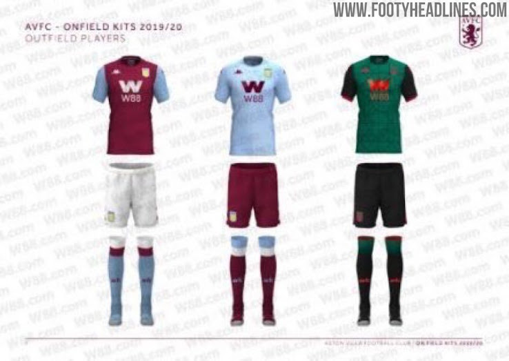 Kappa Aston Villa 19 20 Home Away Third Premier League Kits Leaked New Picture Footy Headlines
