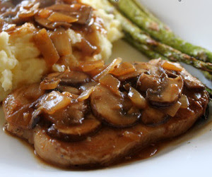 Slow Cooked Pork Chop with Mushroom Gravy Recipe | Healthy Pork Recipe