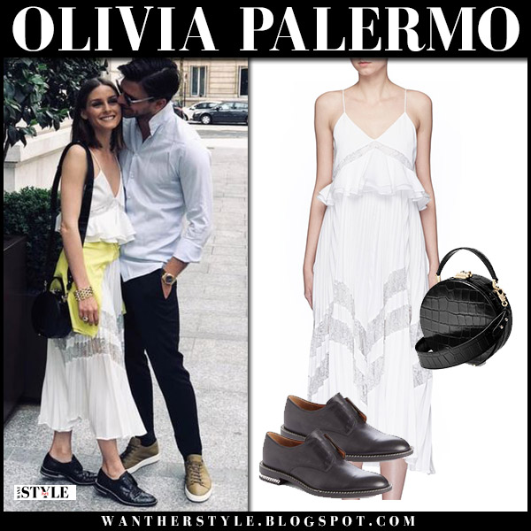 Olivia Palermo in white pleat midi dress self portrait, black givenchy shoes with black round bag aspinal of london summer street style july 2018