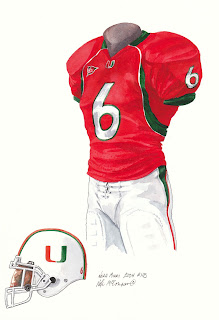 2004 University of Miami Hurricanes football uniform original art for sale