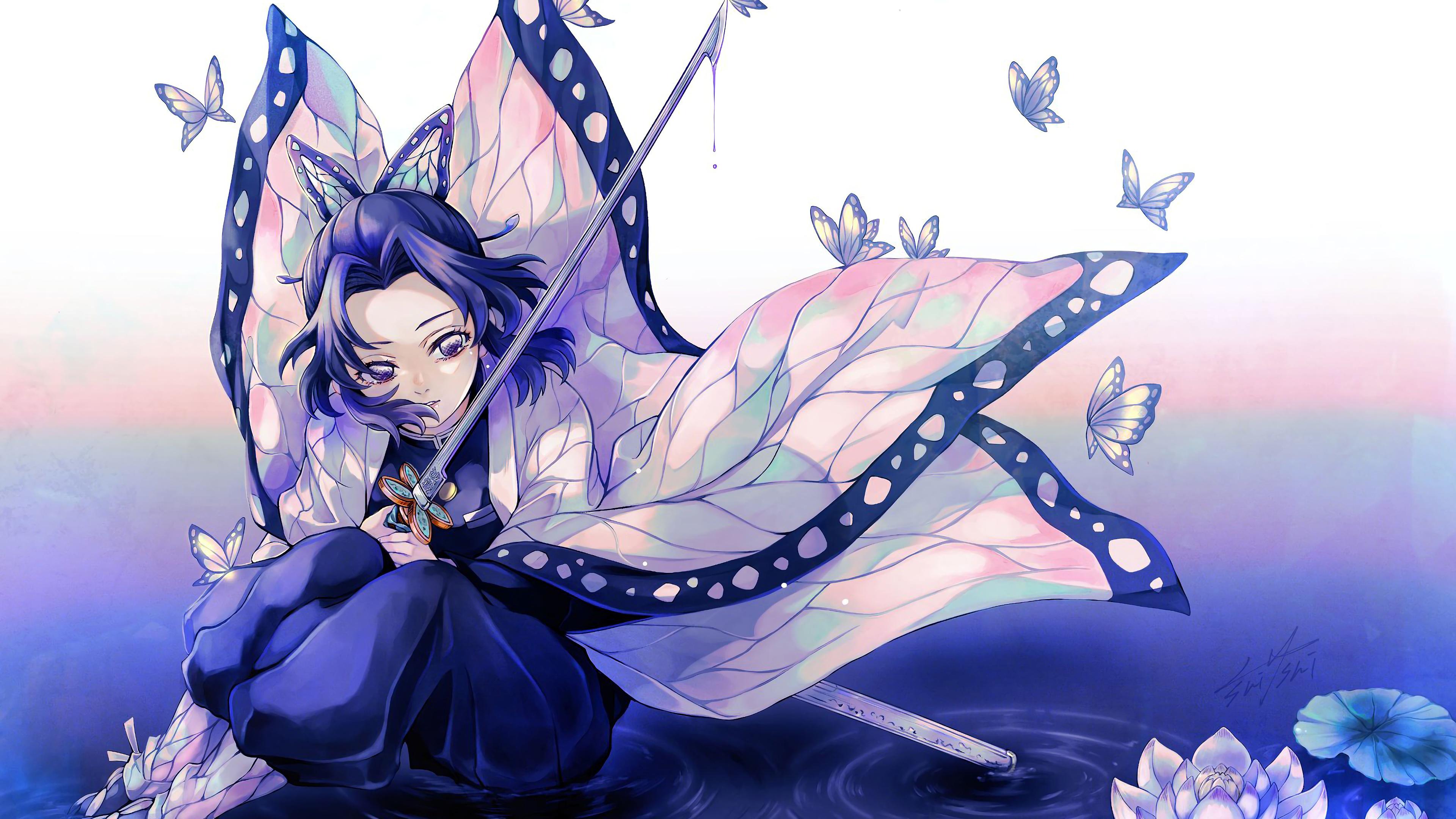 Shinobu Kochou Kimetsu No Yaiba 4k Wallpaper 123