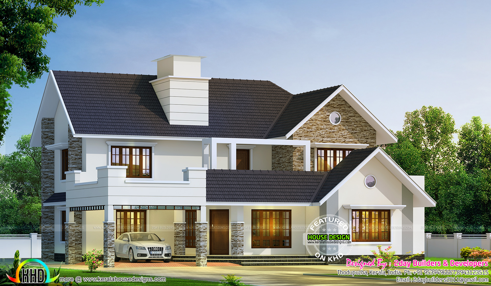 2980 sq ft semi contemporary with colonial style kerala for Modern kerala style house plans with photos