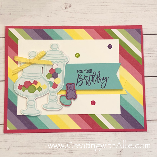 Check out the video tutorial with some AMAZING tips and tricks for making Birthday cards using Stampin' Up! How sweet it is designer series paper!  You will love how quick and easy this is to make!  www.creatingwithallie.com #stampinup #alejandragomez #creatingwithallie #videotutorial #cardmaking #papercrafts #handmadegreetingcards #fun #creativity #makeacard #sendacard #stampingisfun