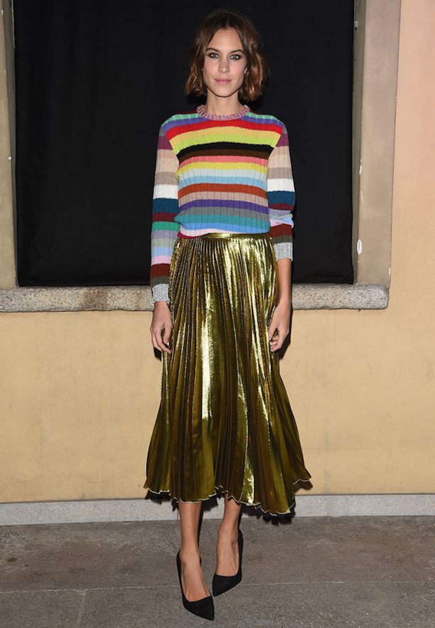 Alexa-Chung-Gold-Pleat-Midi-Skirt