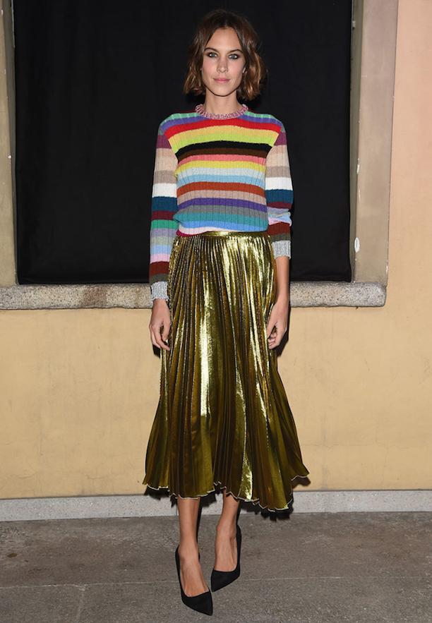 Alexa-Chung-Gold-Pleat-Midi-Skirt