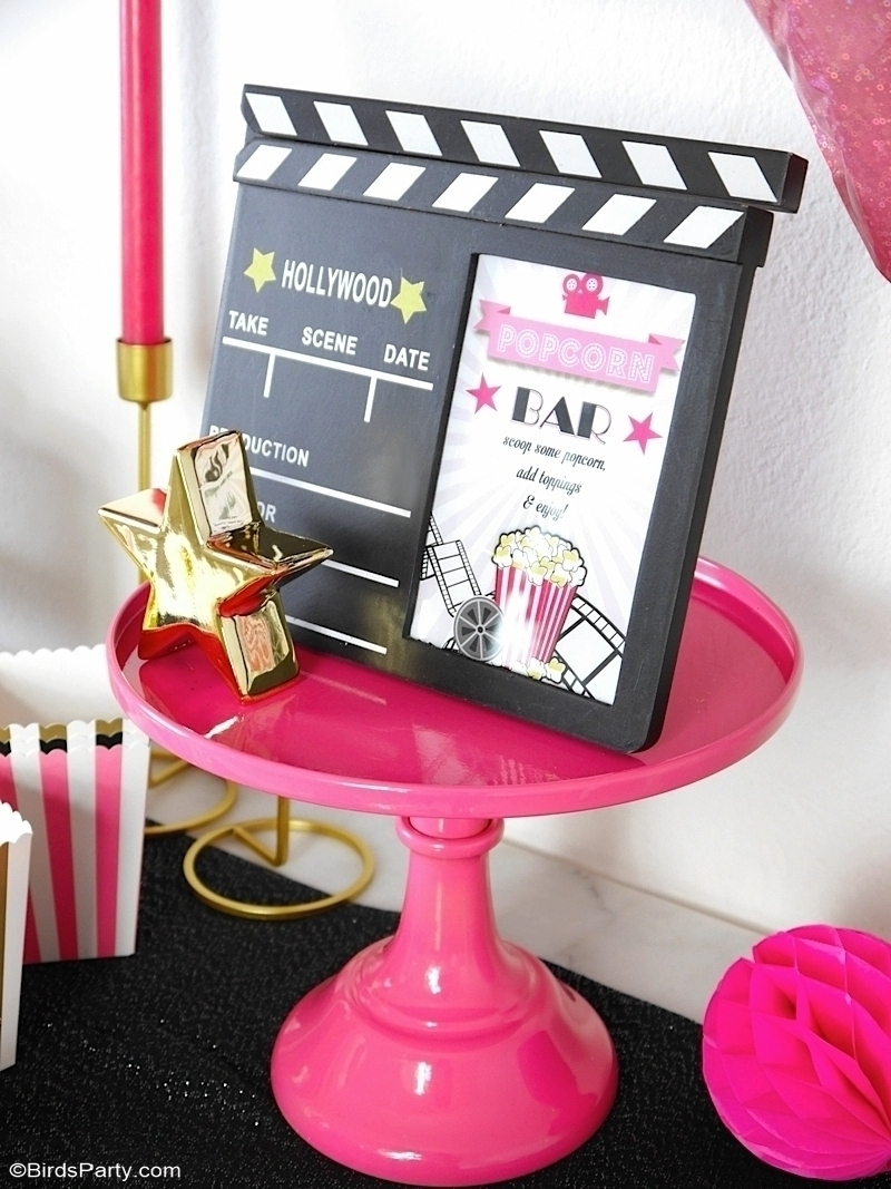 Movie Night Party Ideas in Pink, Gold and Black - easy, glam and girly ideas for hosting a cinema birthday party premiere, or watching the Oscars! by BirdsParty.com @birdsparty #oscarsparty #awardsparty #movieparty #movienightparty #oscarsviewingparty #cinemabirthday #cinemaparty #moviepartyideas #movieprintables