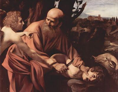 """""""Sacrifício de Isaac"""", óleo de 1603, pintado por Caravaggio, exposto na Galeria Uffizi em Florença, Itália."""