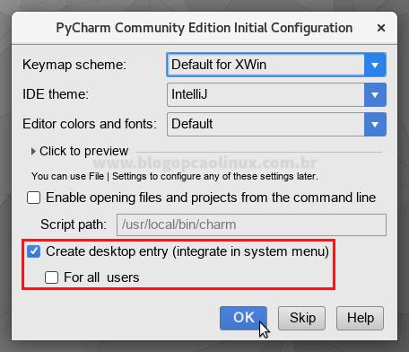 Tela de configuração inicial do PyCharm