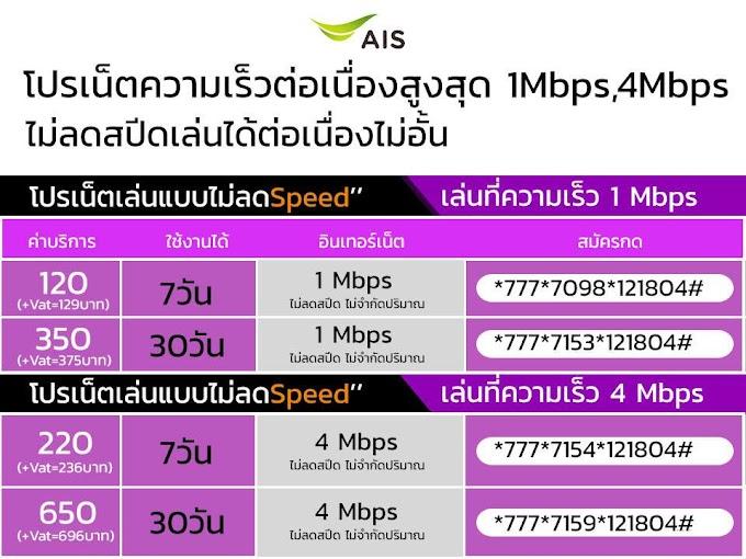 โปรเน็ต AIS เน็ตไม่ลดสปีด
