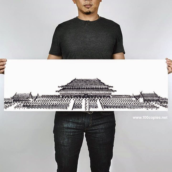 03-Forbidden-City-Beijing-China-Thomas-Yang-Art-From-Bicycle-Drawings-in-100copies--www-designstack-co