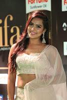 Prajna Actress in bhackless Cream Choli and transparent saree at IIFA Utsavam Awards 2017 023.JPG