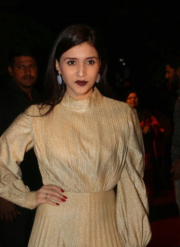 Actress At Gemini TV Awards In Yellow Dress Mannara Chopra