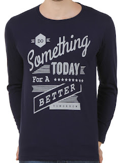 Konners Full Sleeve T shirt - Navy Blue, Do Something Today Slogan