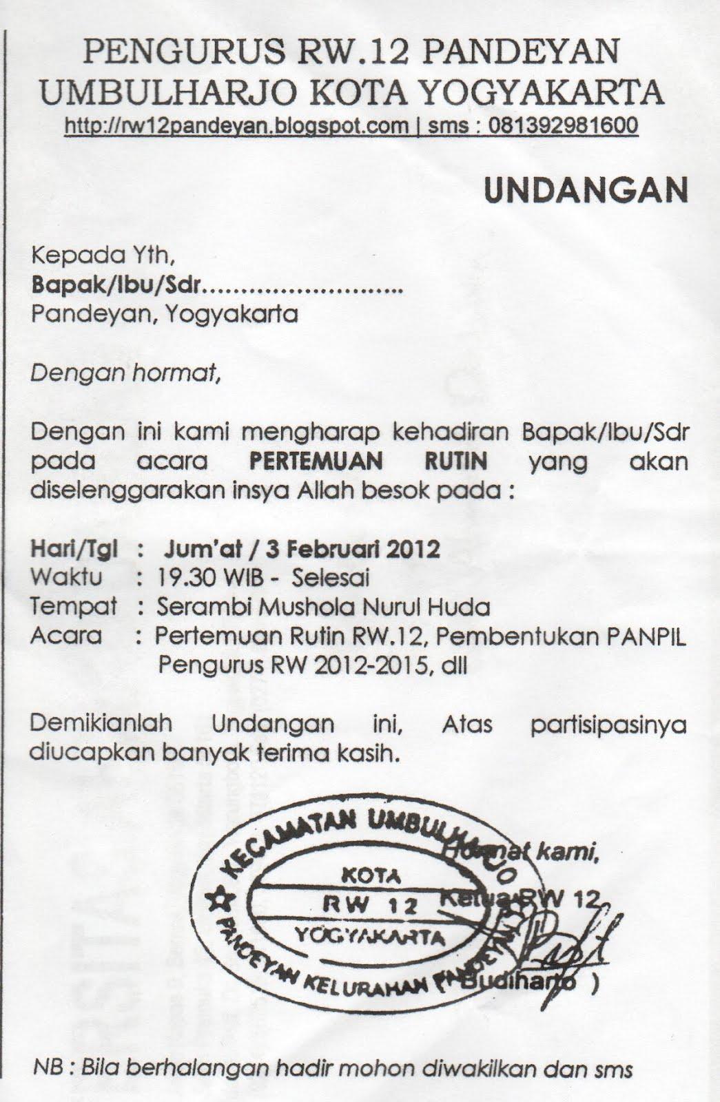 Ketua Panitia Pemilihan Ketua Pengurus RW Periode