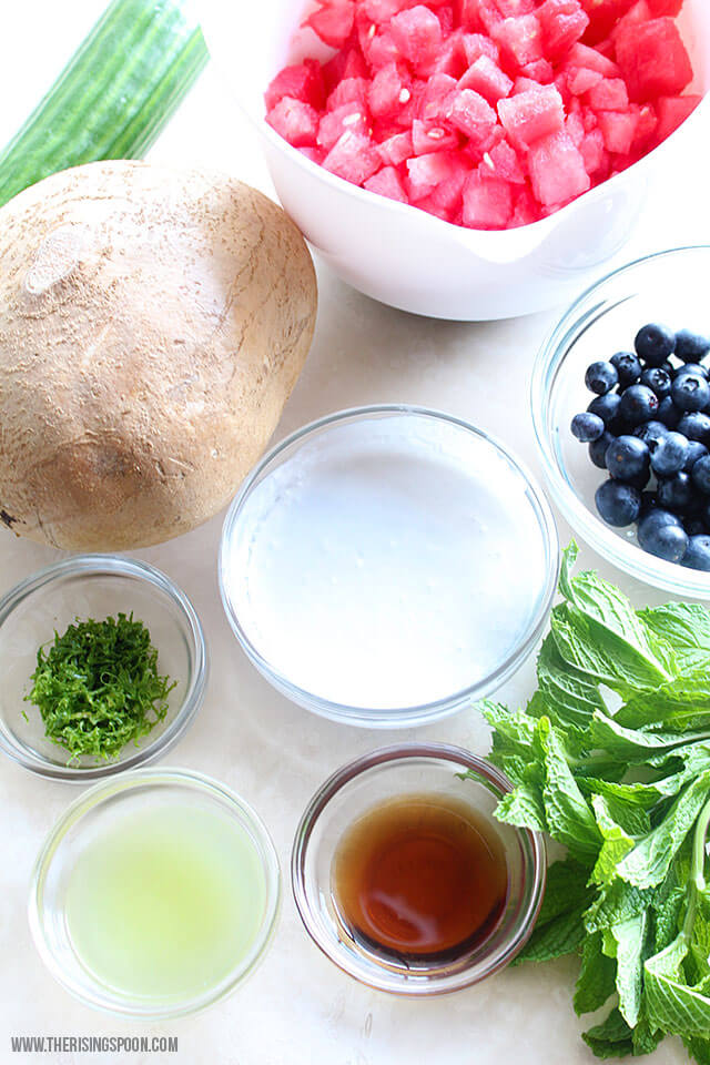 Ingredients For Easy Watermelon Salad Recipe with Coconut Lime Dressing