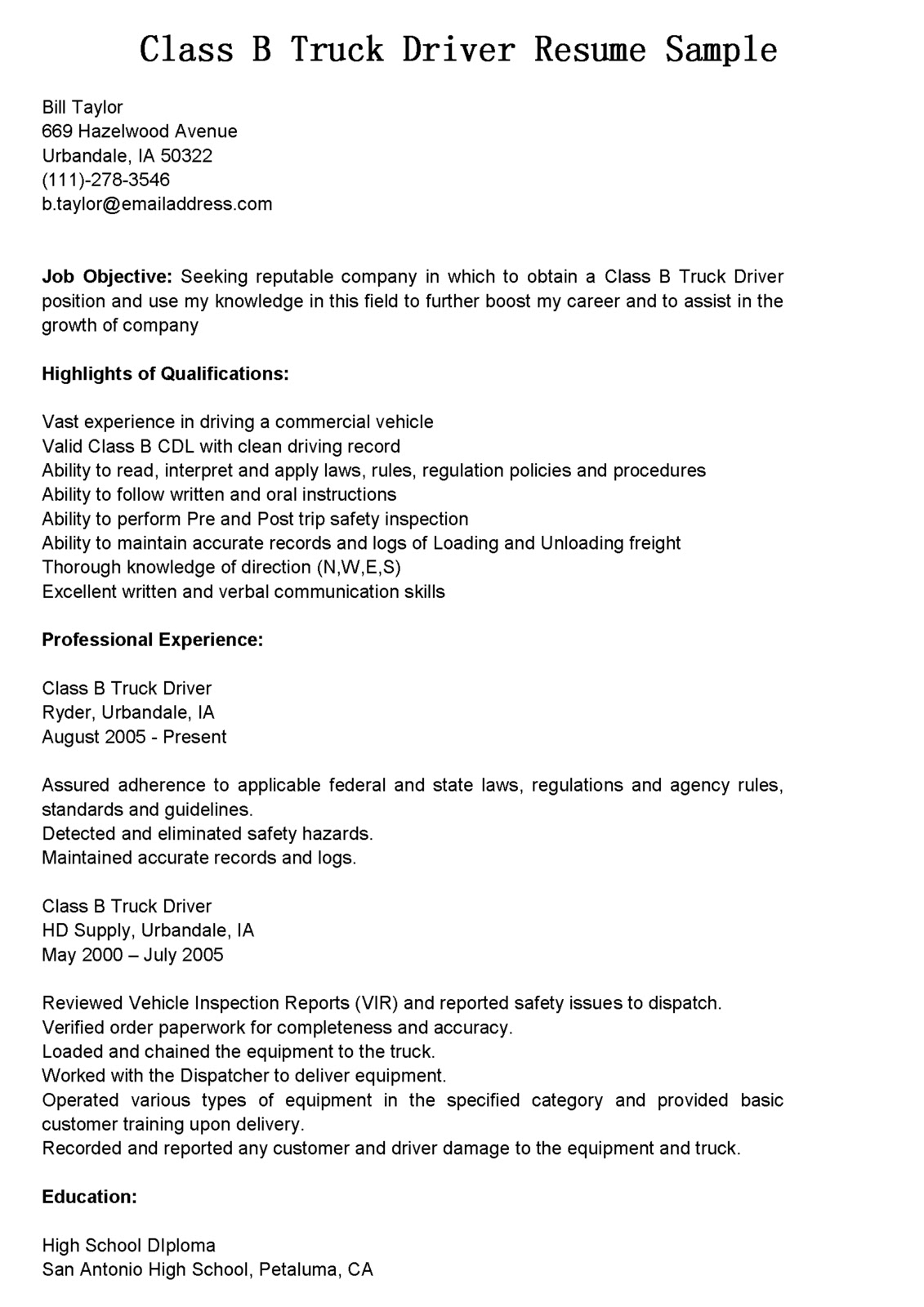 Cl B Truck Driver Resume Sample