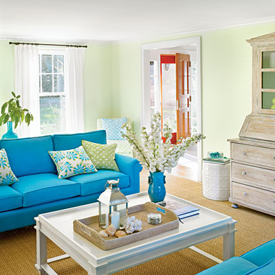 Bright Beachy Blue Living Room