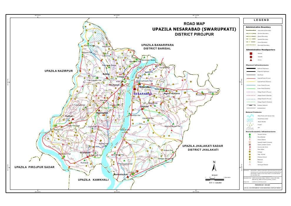 Nesarabad Upazila Road Map Pirojpur District Bangladesh