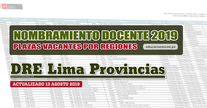 DRE Lima Provincias: Plazas Vacantes para Nombramiento Docente 2019 (.PDF ACTUALIZADO MARTES 13 AGOSTO) www.drelp.gob.pe