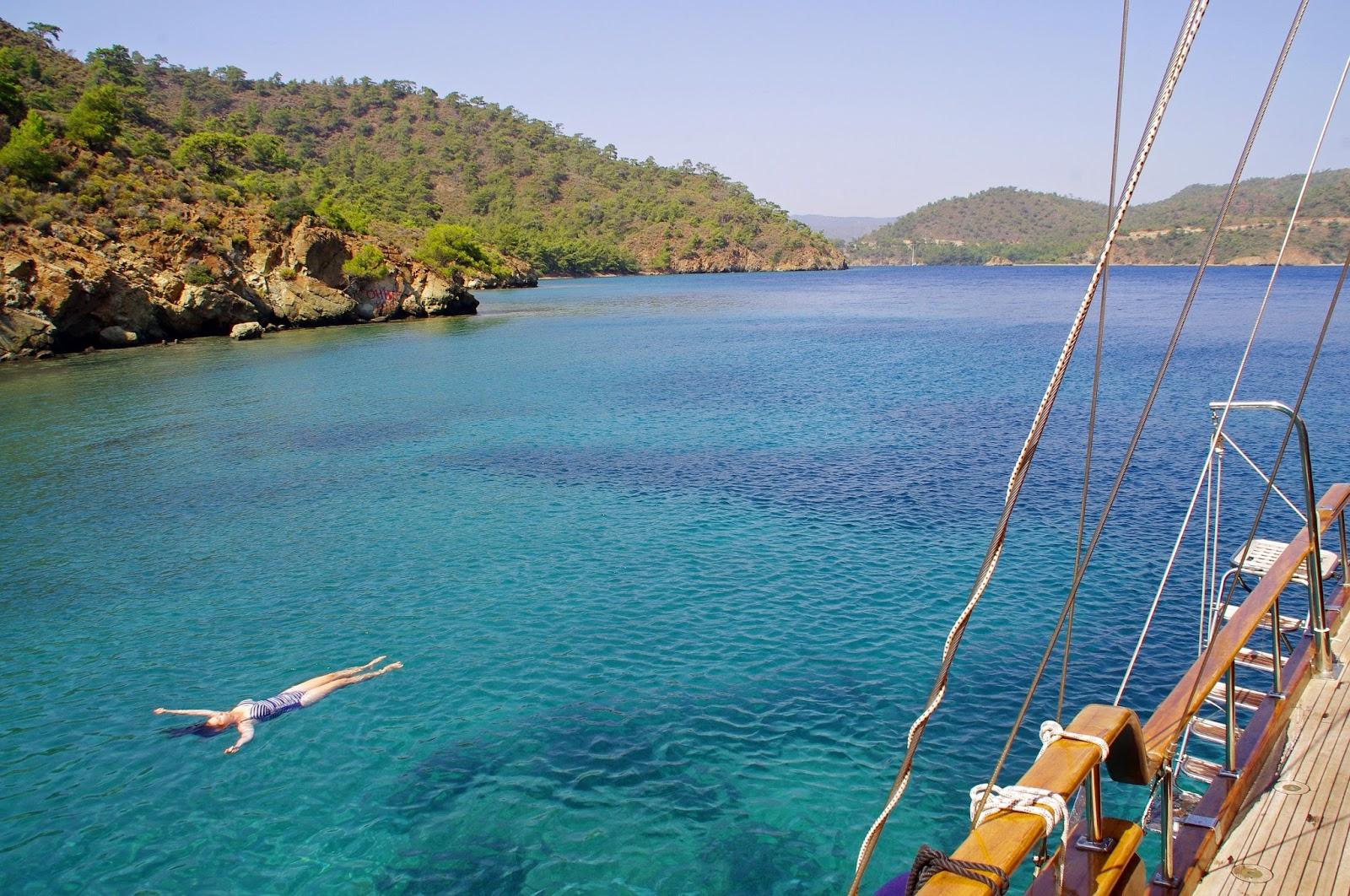 Floating in Crystal Clear Water in Turkey
