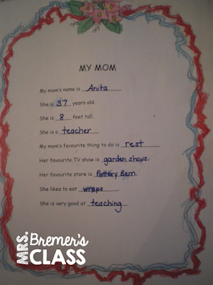 Mother's Day cookbook written by students & All About My Mom book freebie!