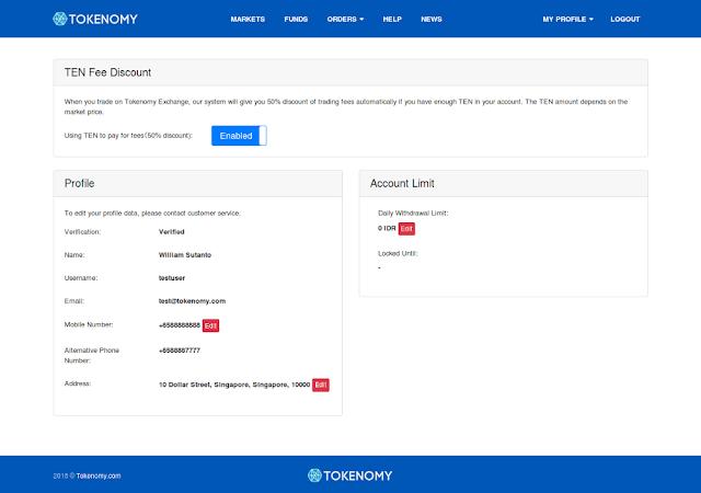 Fee / Biaya Trading Tokenomy Exchange