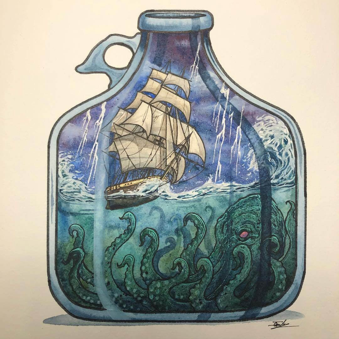01-Kraken-Storm-Jon-Guerdrum-Ship-in-a-Bottle-Drawings-and-Paintings-www-designstack-co