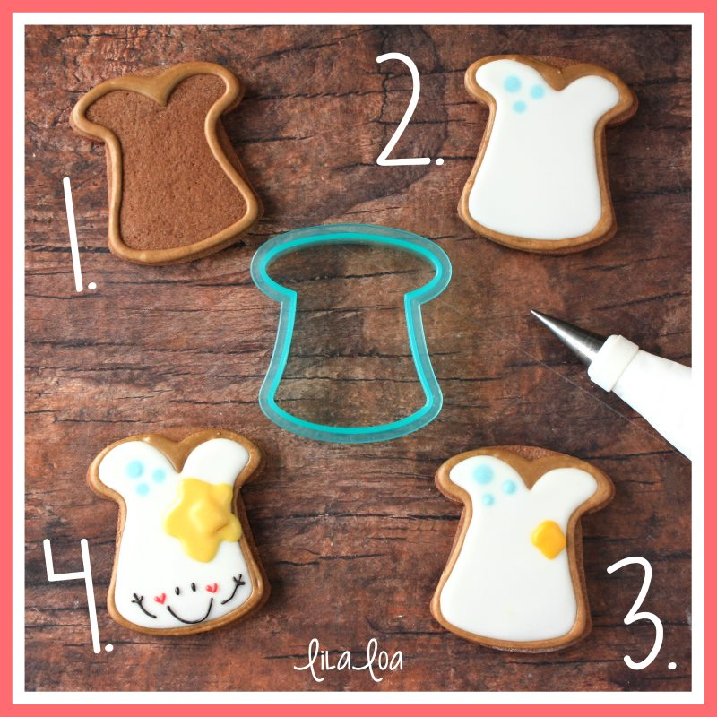 Kawaii toast sugar cookie decorating tutorial