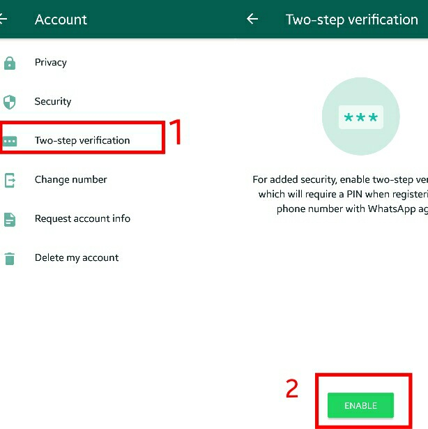 whatsapp verification settings