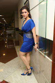 Mannara Chopra in Short Blue Dress at Rogue Movie Teaser Launch 1st March 2017 092.JPG