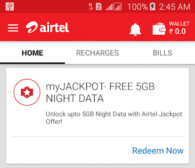 airtel jackpot offer get 5gb free data