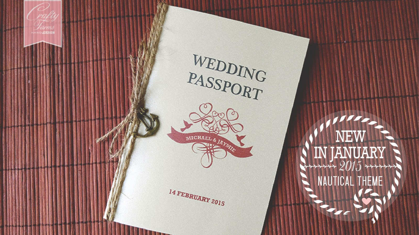 Vintage Nautical Passport Wedding Card with Anchor Charm available now in Malaysia