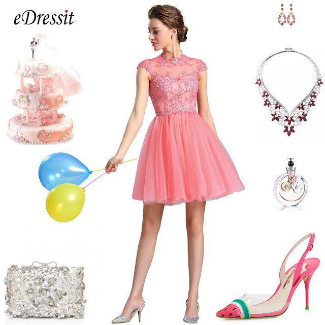 eDressit Lace Applique Coral Cocktail Dress Party Dress
