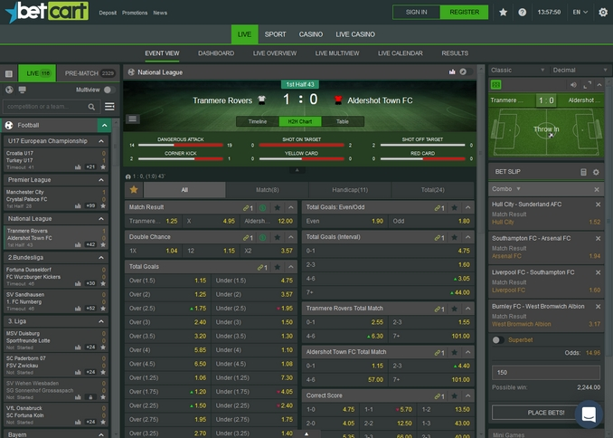 BetCart Live Betting Screen