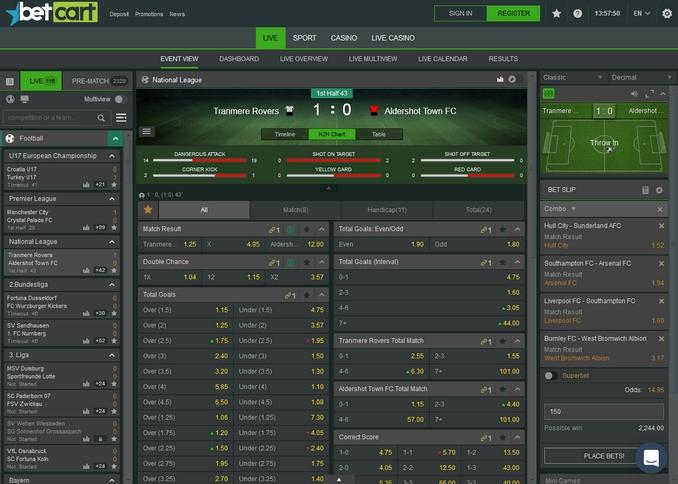 BetCart Live Betting Screen