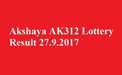 Akshaya AK312 Lottery Result 27.9.2017