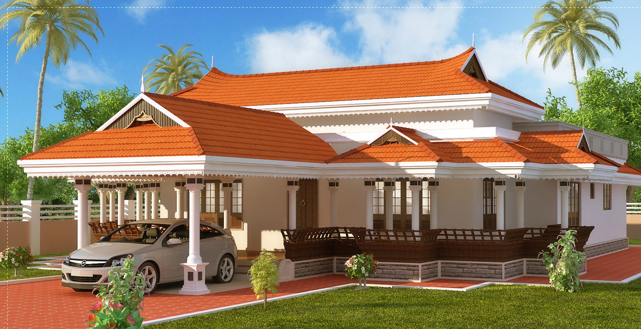 Kerala houses and plans kerala traditional home with car for Kerala traditional home plans with photos