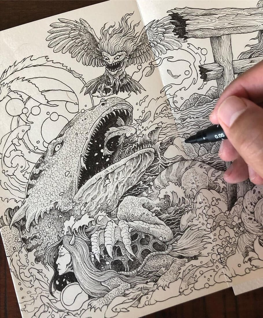 12-Sea-Creatures-WIP-Kerby-Rosanes-Detailed-Fantasy-Ink-Drawings-www-designstack-co