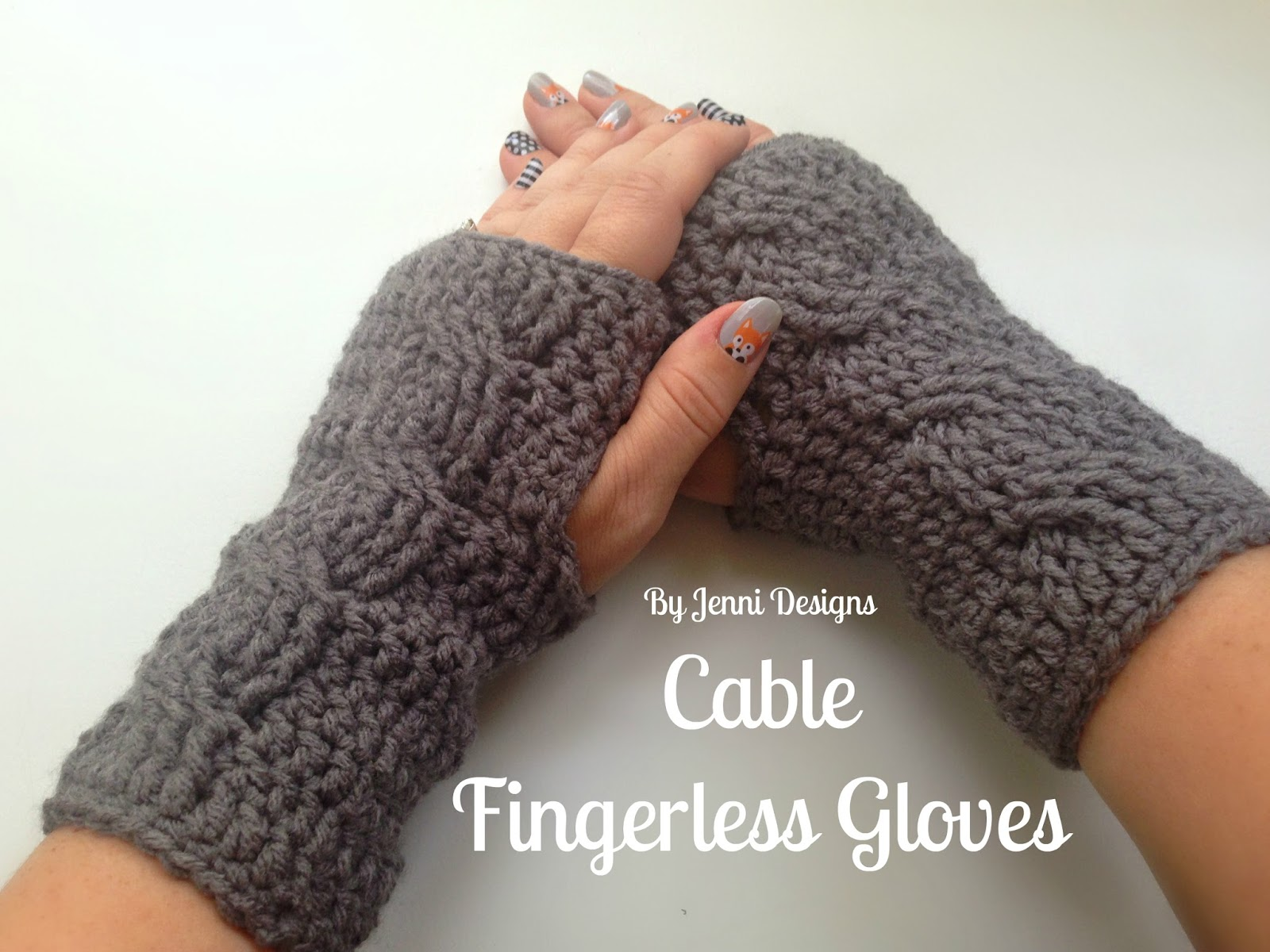By Jenni Designs: Free Crochet Pattern: Cable Fingerless Gloves
