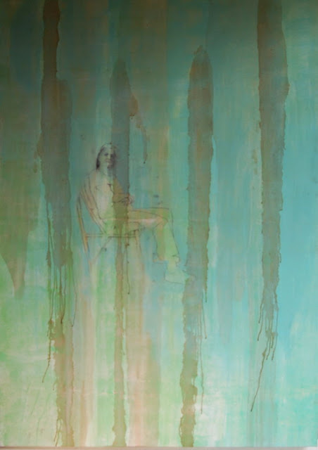 Oil painting with aqua blue and sea tones mixed media art work by Louisiana artist George Marks