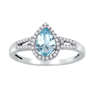 Velvetcase.com- Auqamarine and Diamond accent Ring- Rs 16,119