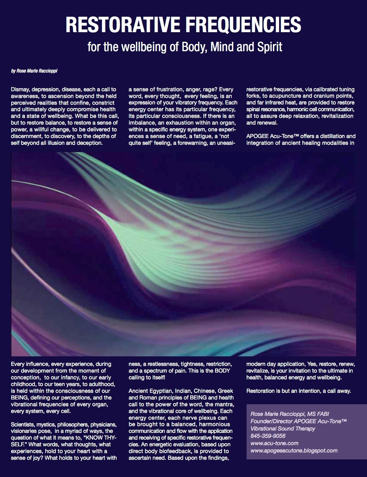 APOGEE Acu-Tone™ ~ Vibrational Sound Therapy: RESTORATIVE