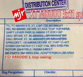 SPEC LENGKAP Groupset Shimano Deore XT 3x11 Speed , FD nya XT M8000